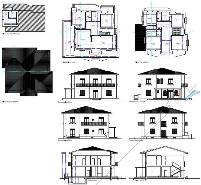 Villa Almarosa +  dependance : Planimetria